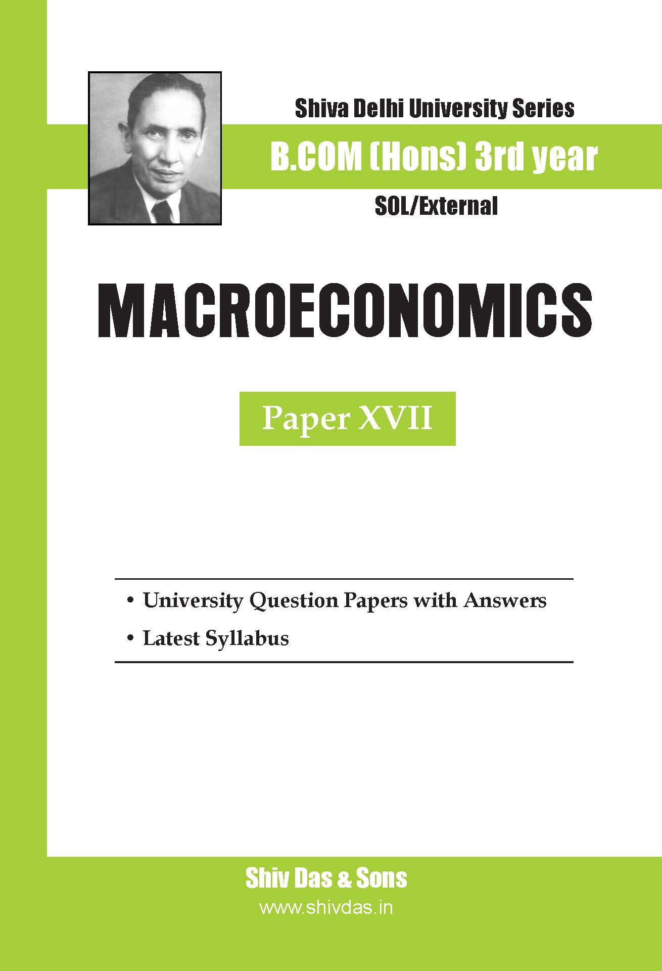 B.Com Hons-SOL/External-3rd Year-Macroeconomics-Shiv Das-Delhi University Series
